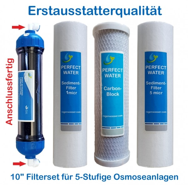 Filterset 10' Sedimentfilter 1 + 5 micr Carbonblock 5 micr Aktivkolhlenachfilter