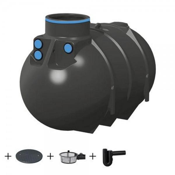Erdtank BlueLine II 2600 Liter ECO Deckel Korbfilter Überlaufsiphon