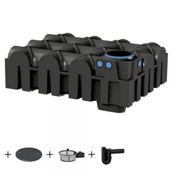 Flachtank F-LINE 5000 Liter ECO mit Deckel Korbfilter Überlaufsiphon