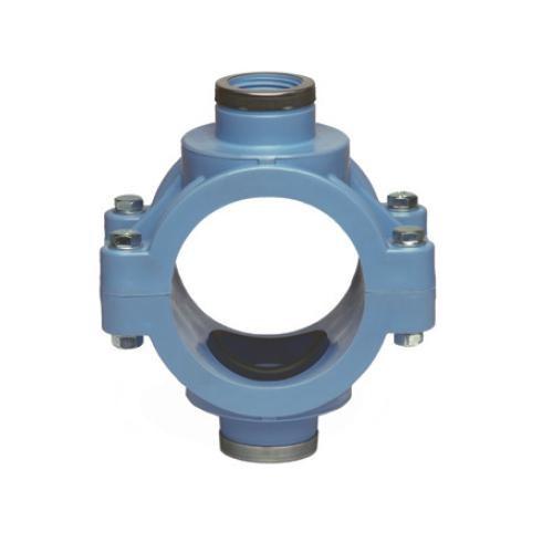 PP Doppelanbohrschelle PN 16 (blau) mit Verstärkung, 90 x 1 1/2'
