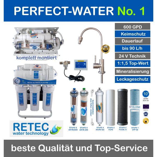 Ultimate PLUS PRO Umkehrosmoseanlage 2020 Perfect-Water No 1 600 GPD