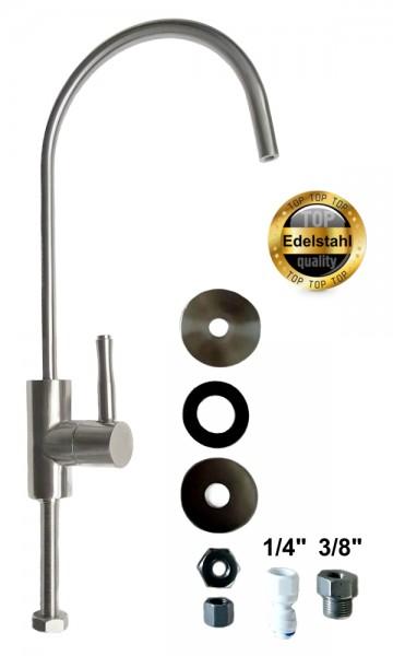 Wasserhahn Edelstahl 3/8' und 1/4' für Wasserfilter und Osmoseanlagen WS8
