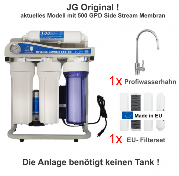 JG Side-Stream 500 GPD STANDARD-Edition Umkehrosmoseanlage ohne Tank
