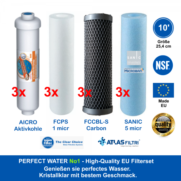10' High Quality Filter-Sparset 1,5 Jahr Perfect Water No 1