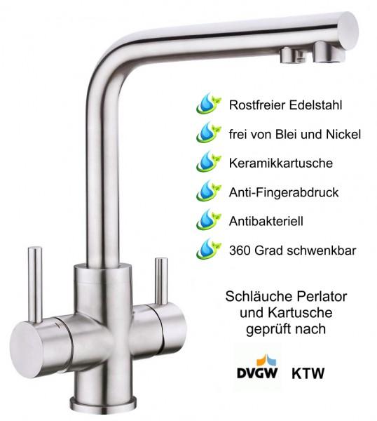 3in1 Wasserhahn PURO Edelstahl