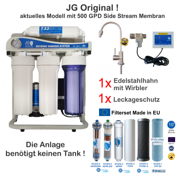 RETEC Perfect Water No.1 500 GPD High Tech Umkehrosmoseanlage direkt flow