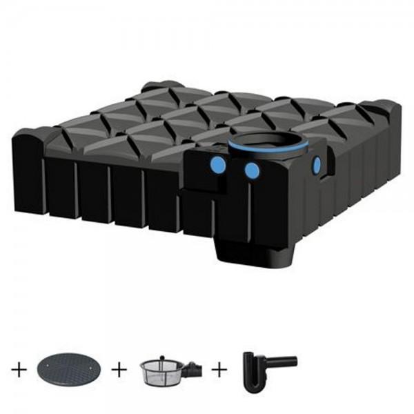 Flachtank F-LINE 3000 Liter ECO mit Deckel Korbfilter Überlaufsiphon
