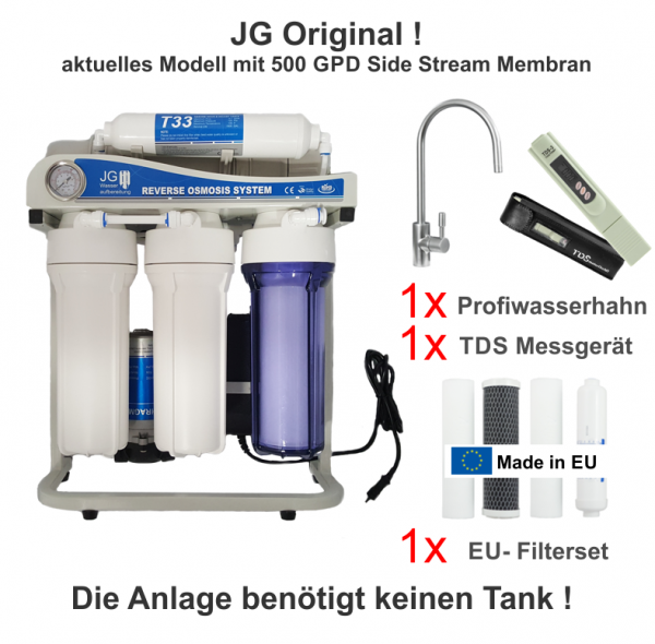 JG Side-Stream PLUS-Edition 500 GPD Umkehrosmoseanlage ohne Tank