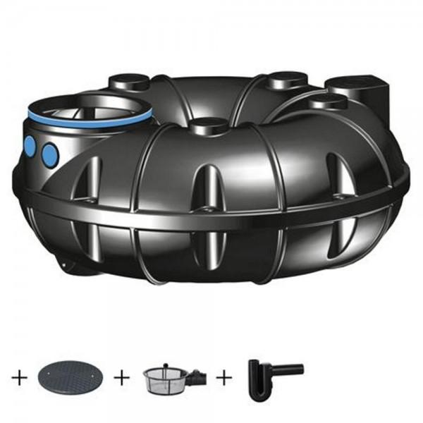 Regenwassertank NEO 1500 Liter ECO Deckel Korbfilter Überlaufsiphon