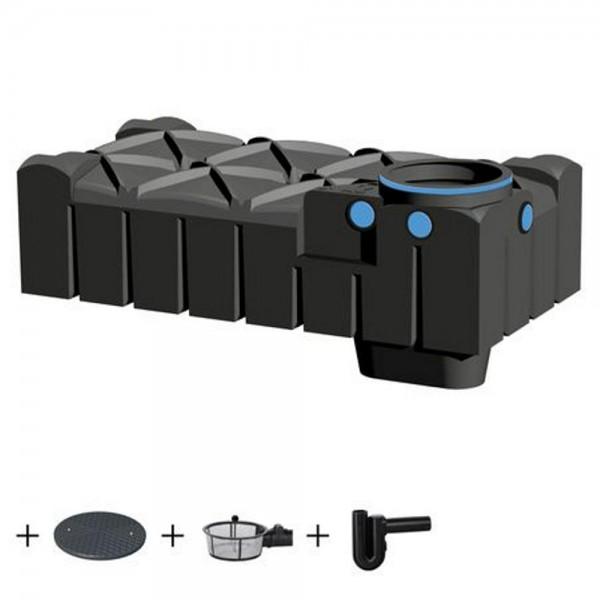 Flachtank F-LINE 1500 Liter ECO mit Deckel Korbfilter Überlaufsiphon