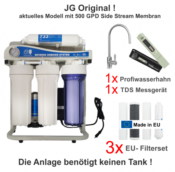 JG Side-Stream PROFI-Edition 500 GPD Umkehrosmoseanlage ohne Tank