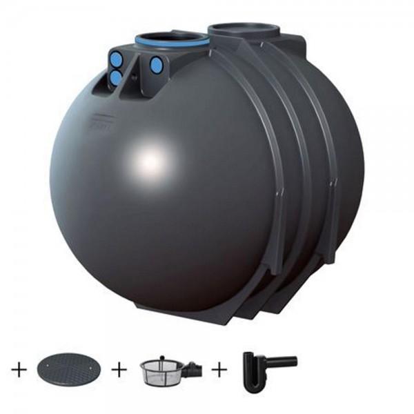 Erdtank BlueLine II 7600 Liter ECO Deckel Korbfilter Überlaufsiphon