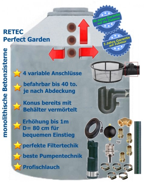 Beton Zisterne Regenwassernutzung Garten 4360 Liter Regenwassersystem